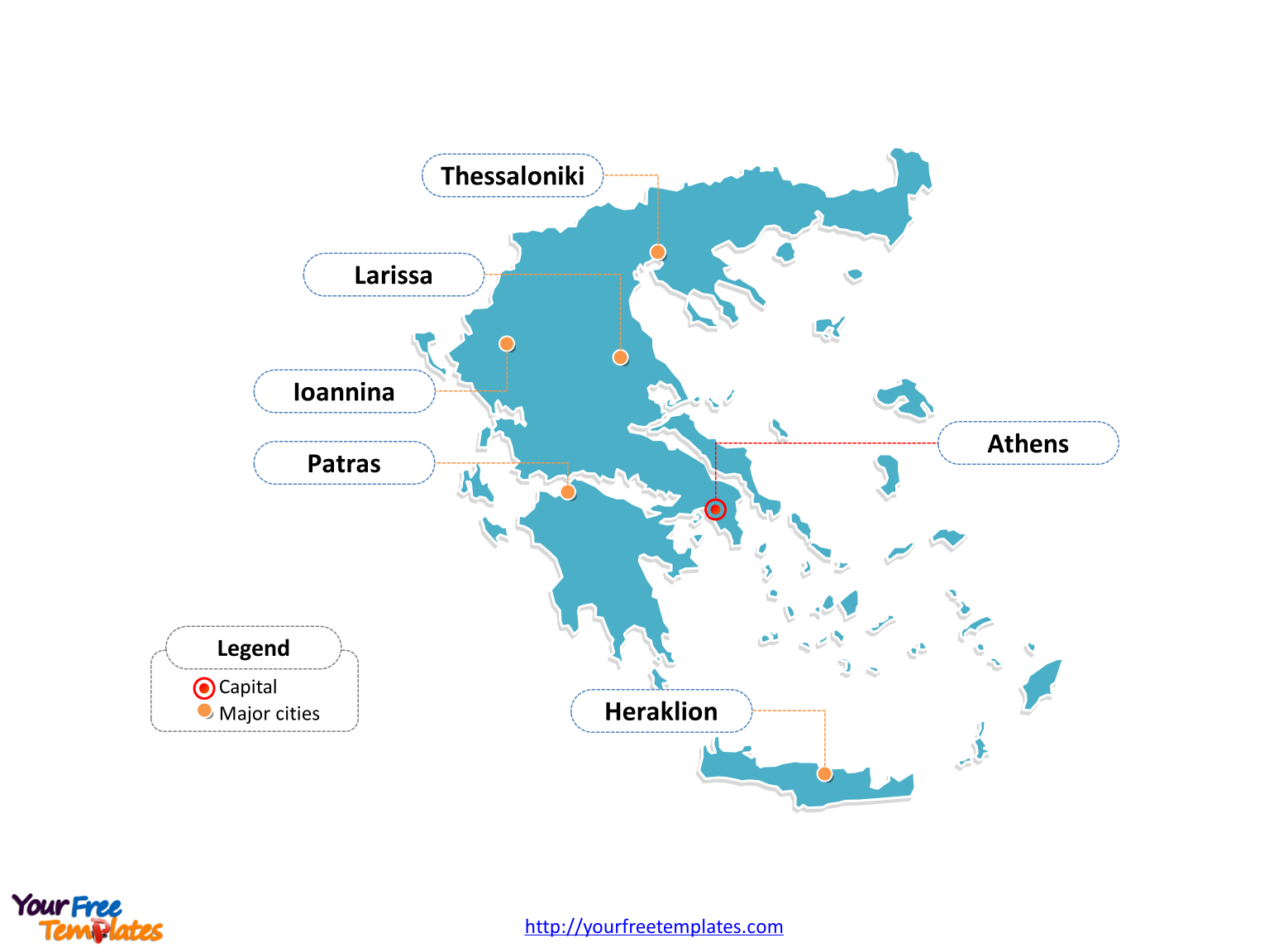 Greece Outline map labeled with cities