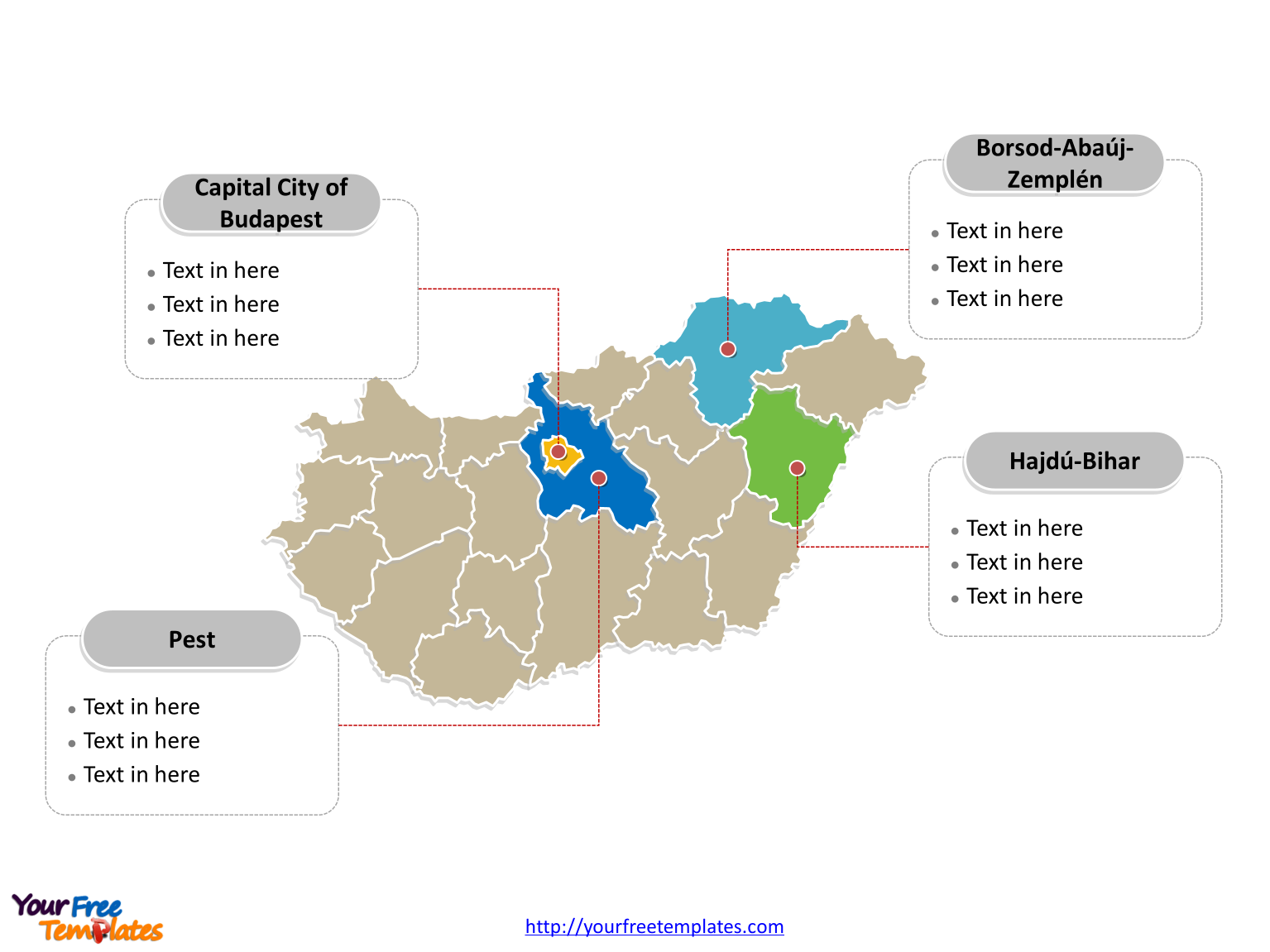 Hungary Political map labeled with major counties