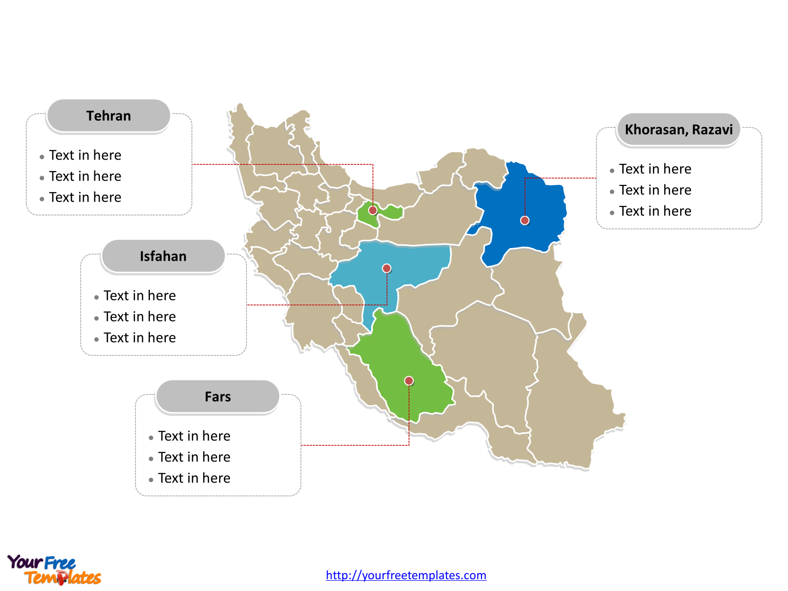 Iran Political map labeled with major provinces
