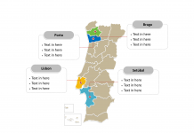 Portugal Political map labeled with major administration districts
