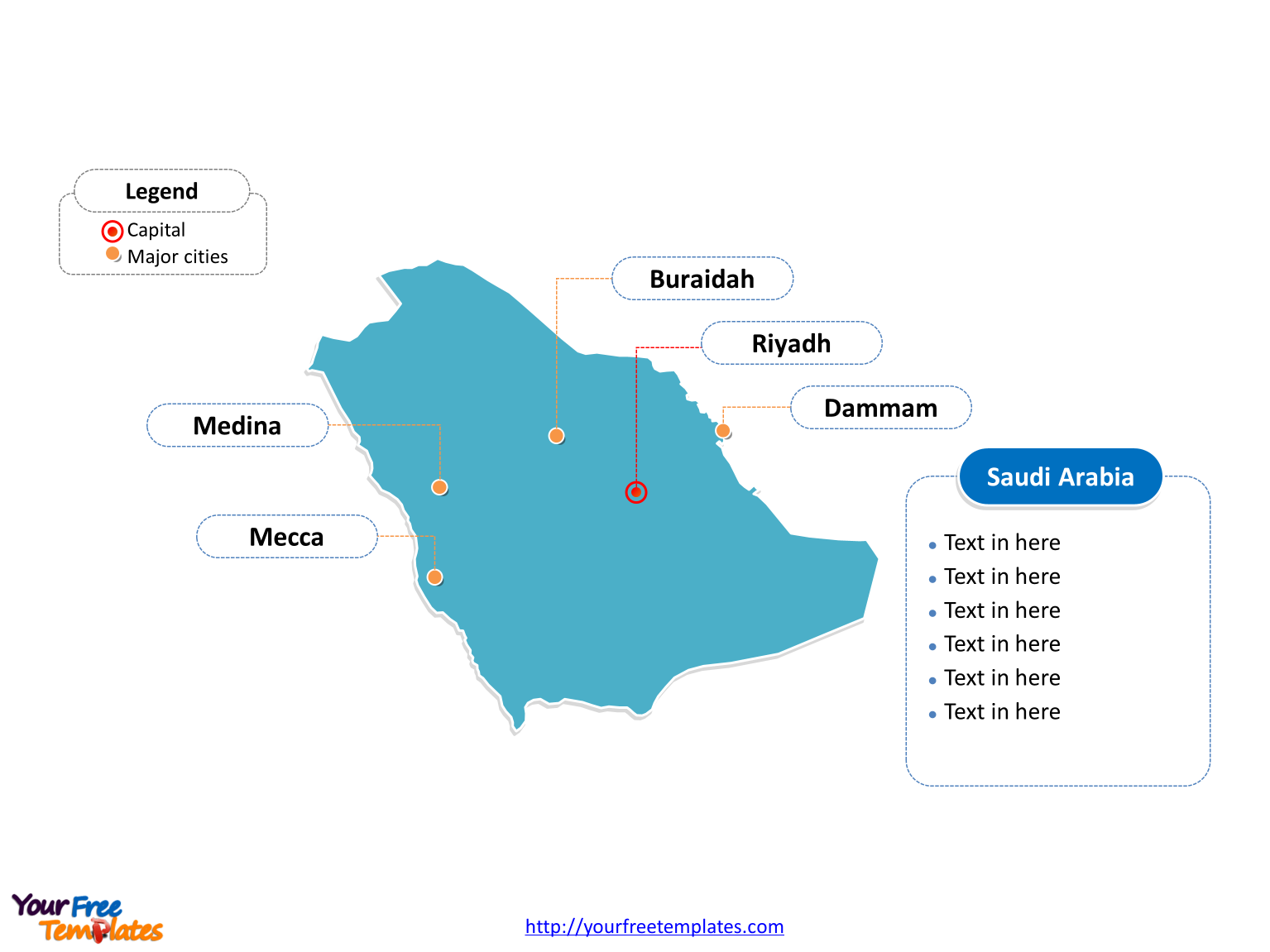 Saudi Arabia Outline map labeled with cities