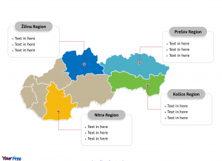 Slovakia Political map labeled with major regions