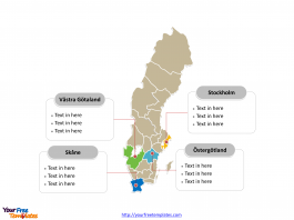 Sweden Political map labeled with major counties