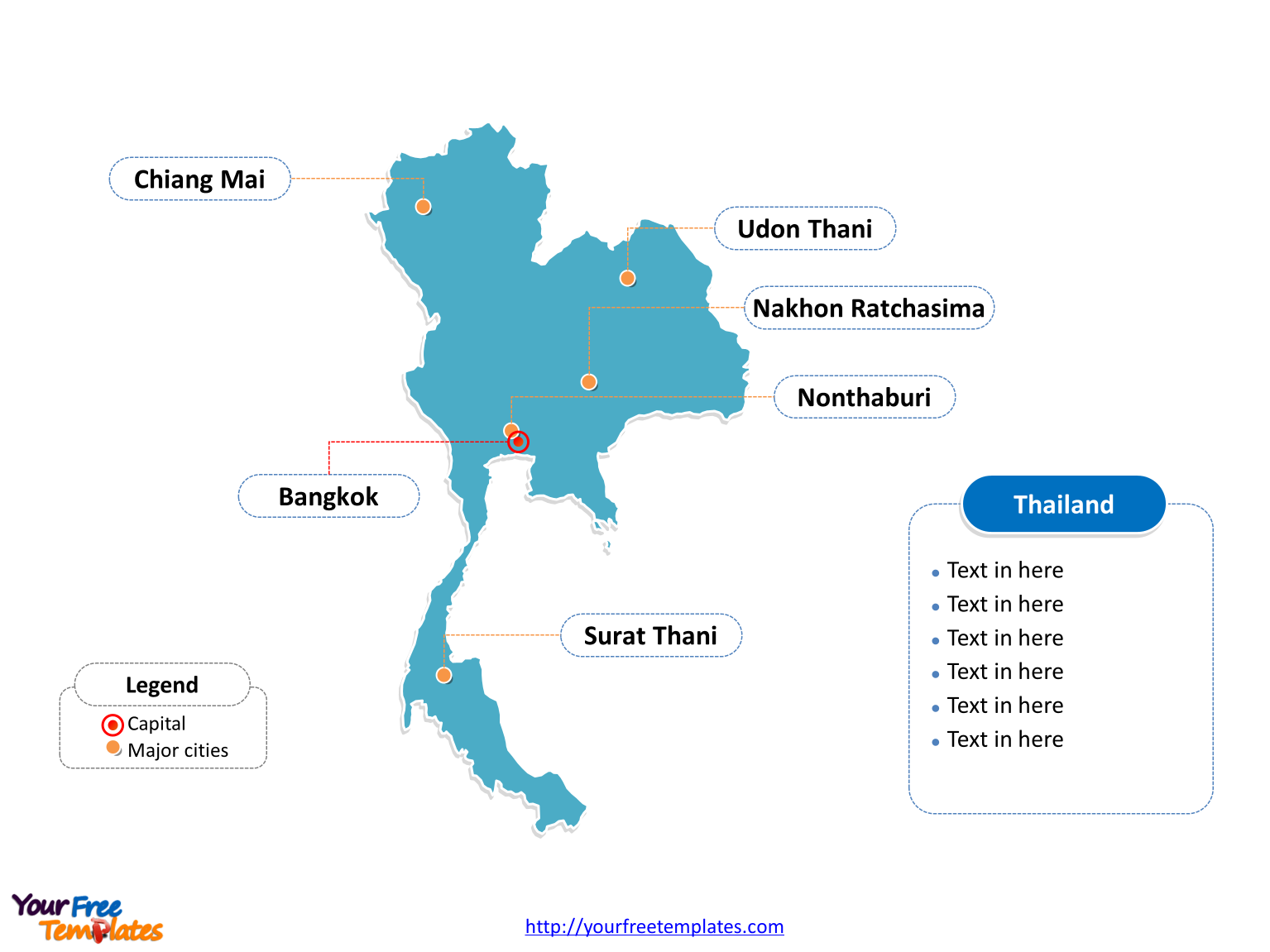 Thailand Editable Map with outline and cities labeled on the Thailand map blank templates