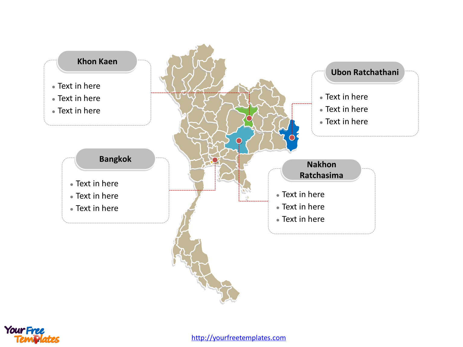 Thailand Editable Map with political division and major Provinces labeled on the Thailand map blank templates