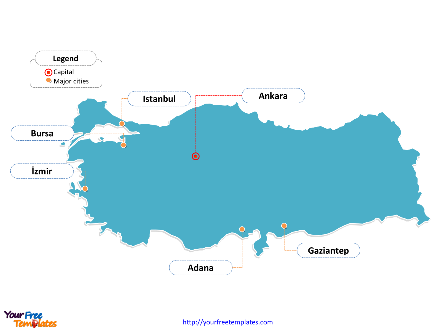 Turkey Editable Map labeled with cities