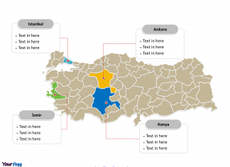 Turkey Political map labeled with major provinces