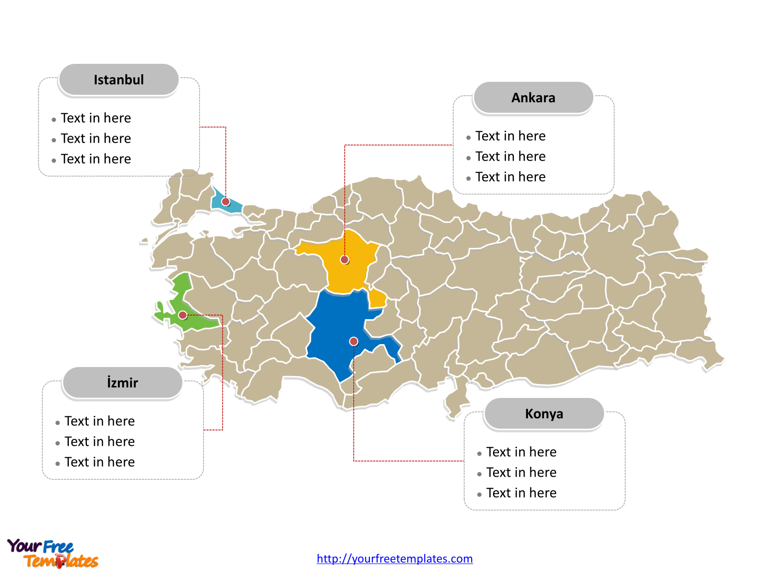 Turkey Editable Map labeled with major provinces