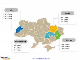 Ukraine Political map labeled with major regions