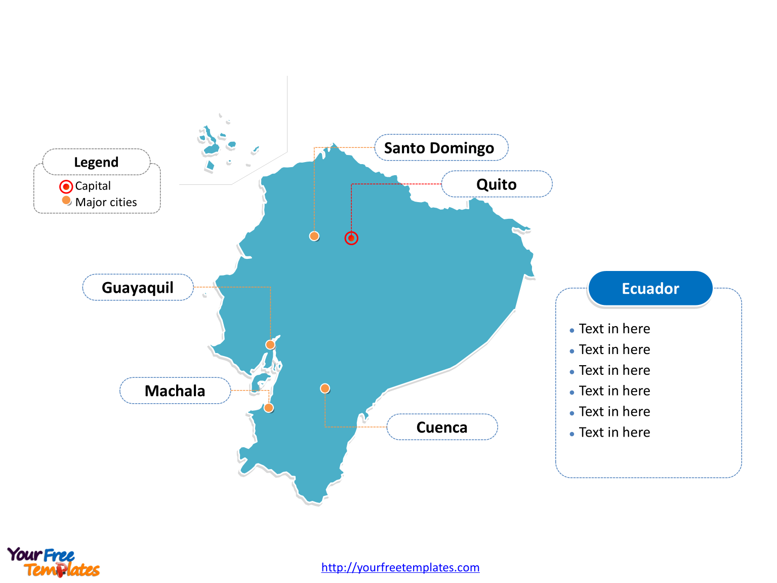 Ecuador Outline map labeled with cities