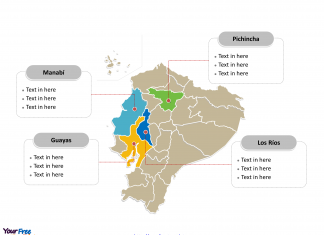 Ecuador Political map labeled with major provinces