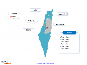 Israel Outline map labeled with cities