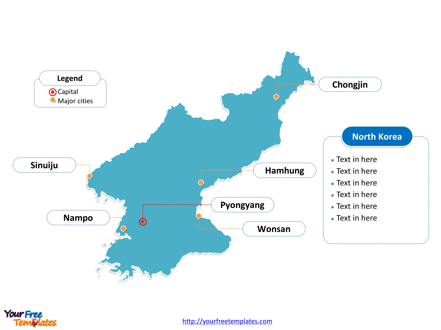 North Korea Outline map labeled with cities