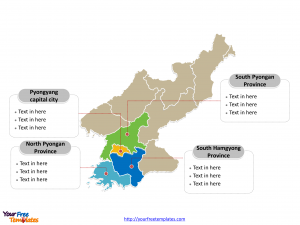 North Korea Political map labeled with major provinces