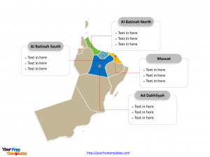 Oman Political map labeled with major governorates