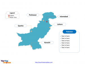 Pakistan Outline map labeled with cities