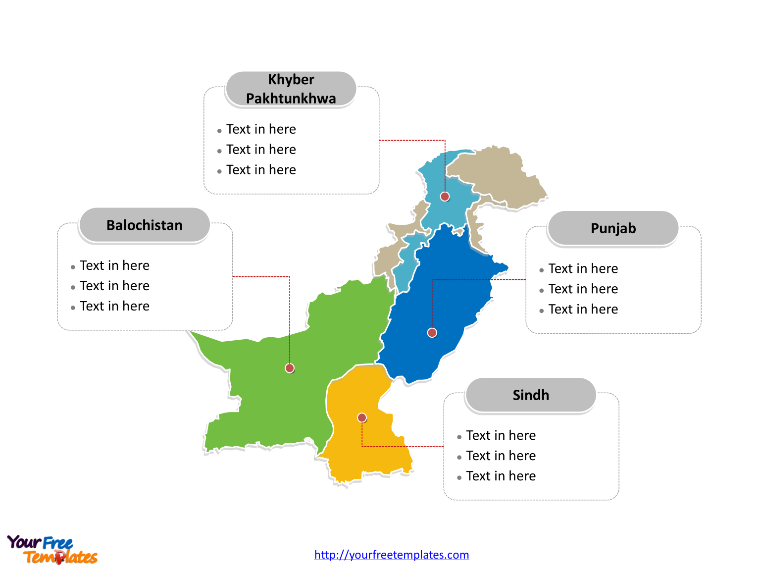 Pakistan Political map labeled with major provinces