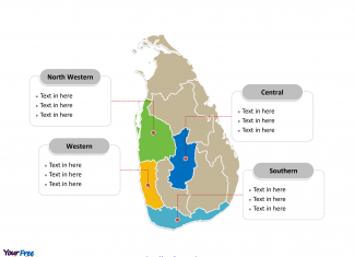 Sri Lanka Political map labeled with major provinces