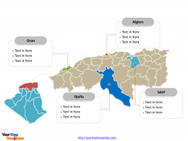 Algeria Political map labeled with major provinces