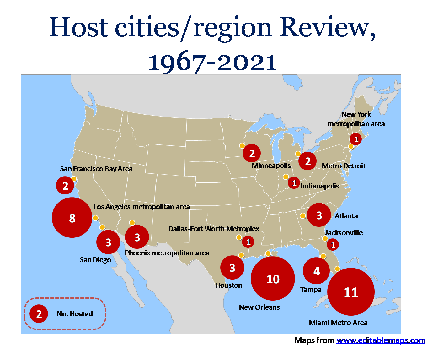 uper Bowl Host cities/region Review from 1967 to 2021 in PowerPoint template