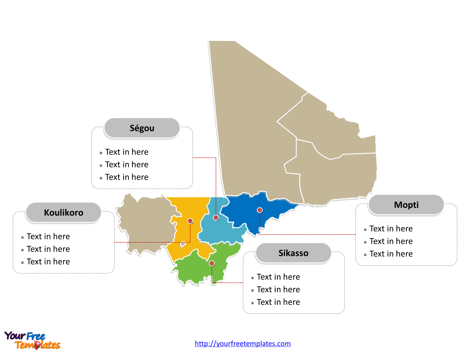 Mali Political map labeled with major regions