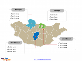 Mongolia Political map labeled with major provinces