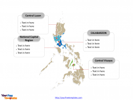 Philippines Political map labeled with major regions