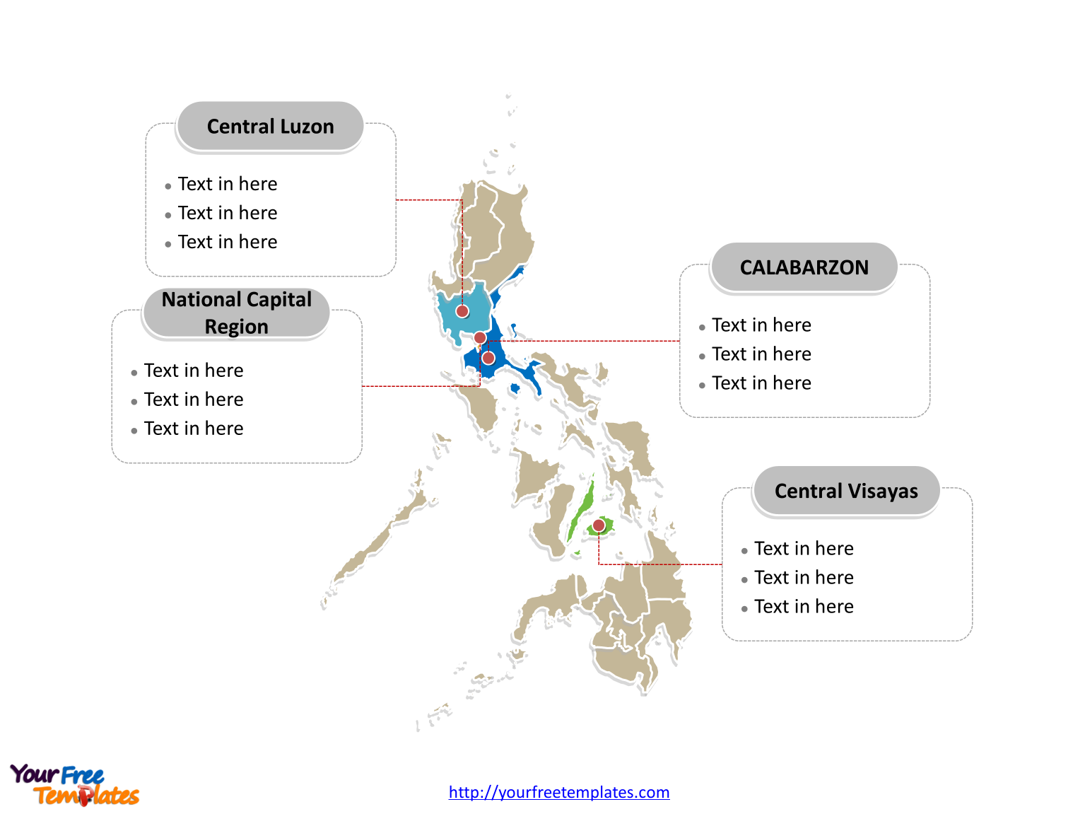 Philippines editable map labeled with major regions on Map of Philippines