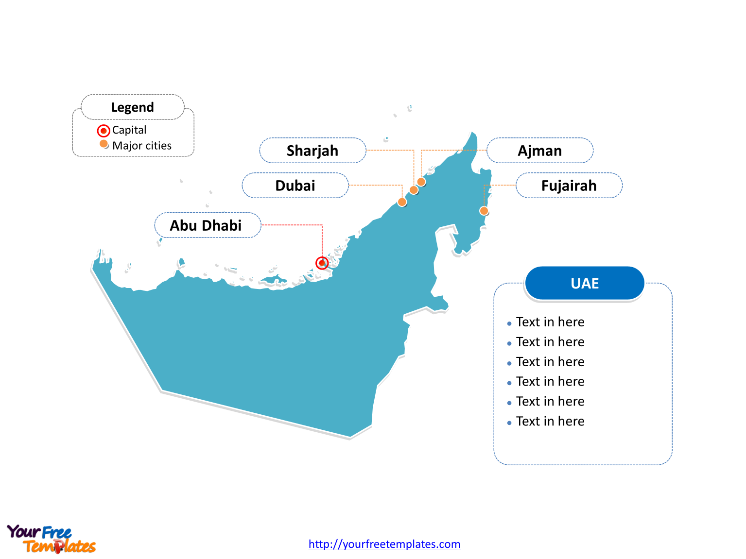 United Arab Emirates Outline map labeled with cities