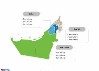 United Arab Emirates Political map labeled with major emirates