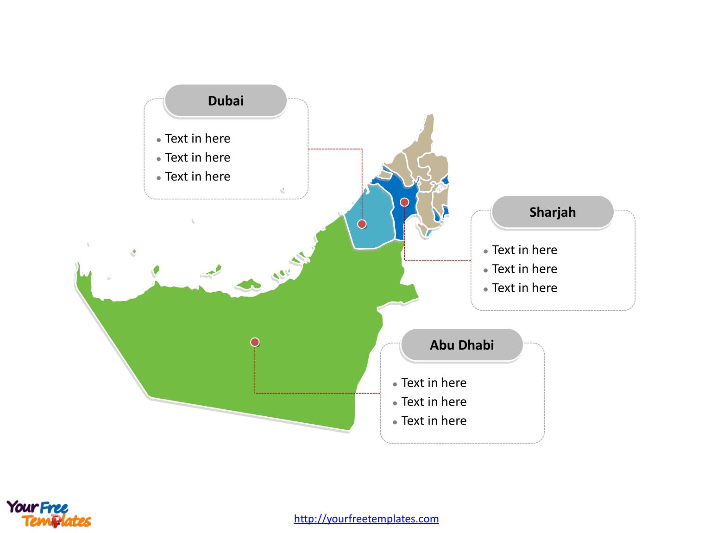 United Arab Emirates Political map labeled with major emirates