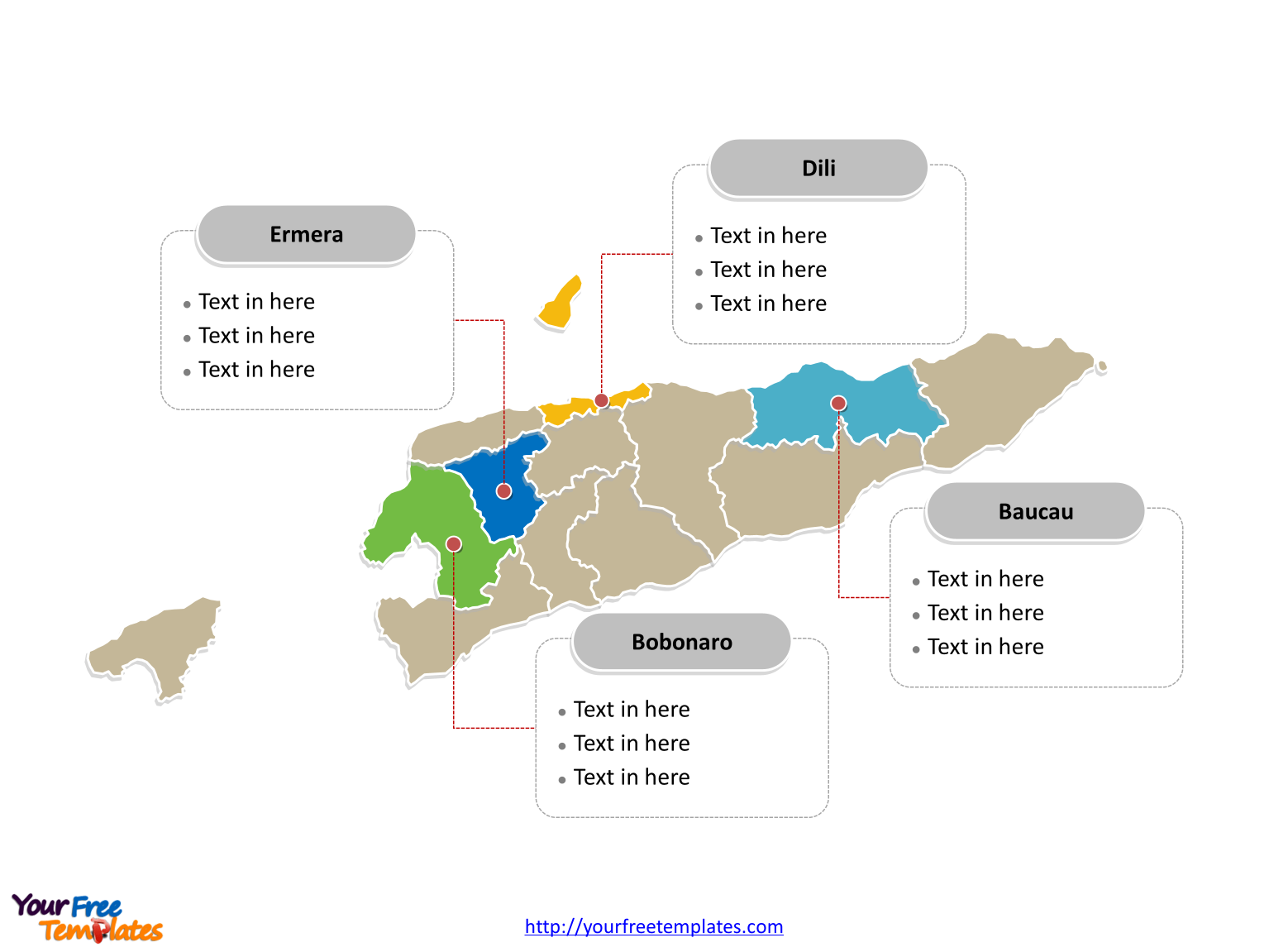 East Timor Political map labeled with major municipalities