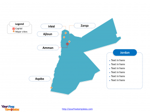 Jordan Outline map labeled with cities