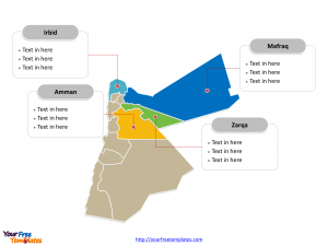 Jordan Political map labeled with major Governorates