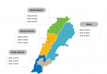 Lebanon Political map labeled with major Governorates