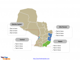 Paraguay Political map label with major administration departments