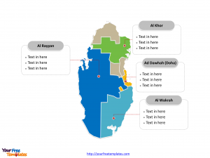 Qatar Political map labeled with major governorates