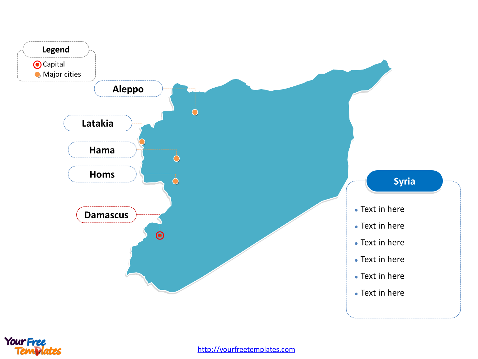 Syria Outline map labeled with cities
