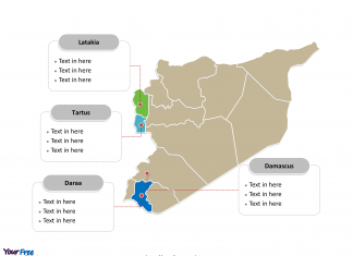 Syria Political map labeled with major Governorates