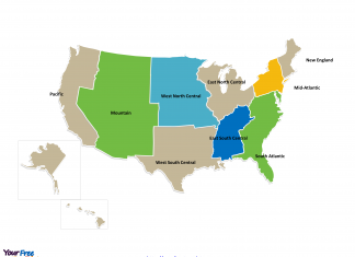 United States of America State Map with census divisions