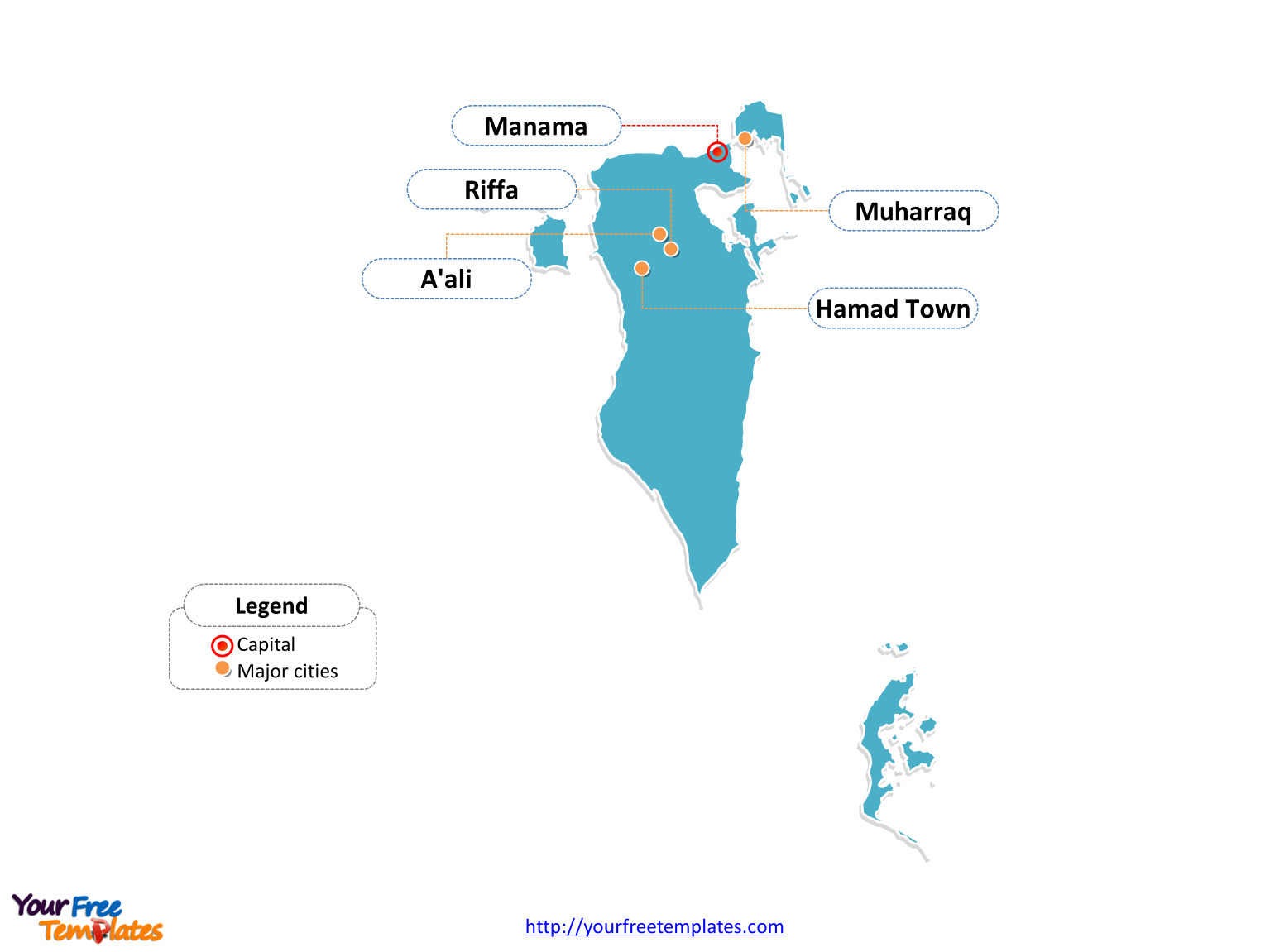Bahrain Outline map labeled with cities