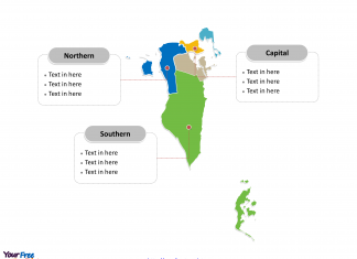 Bahrain Political map labeled with major Governorates