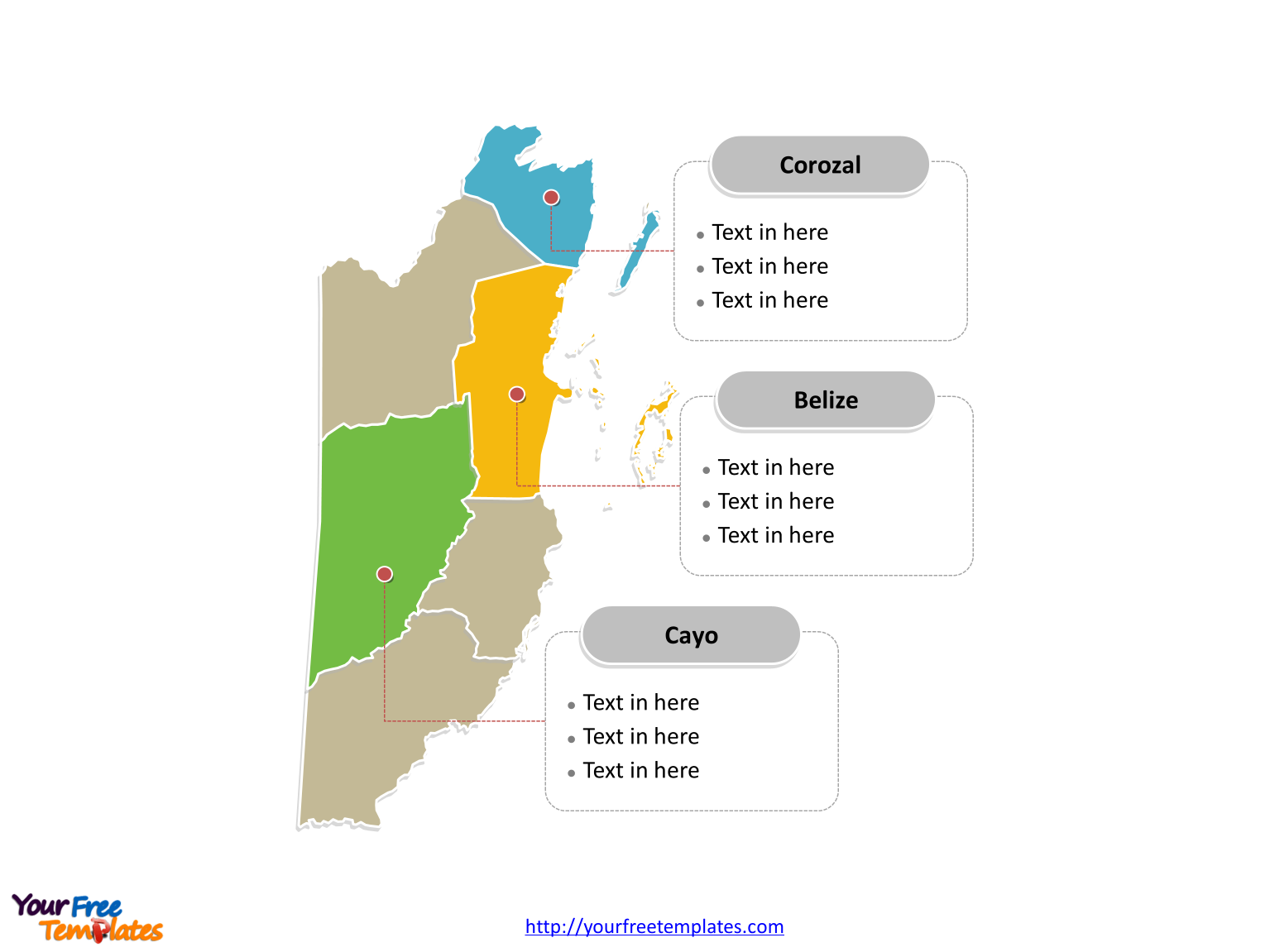 Belize Political Map.Free Belize Editable Map Free Powerpoint Templates