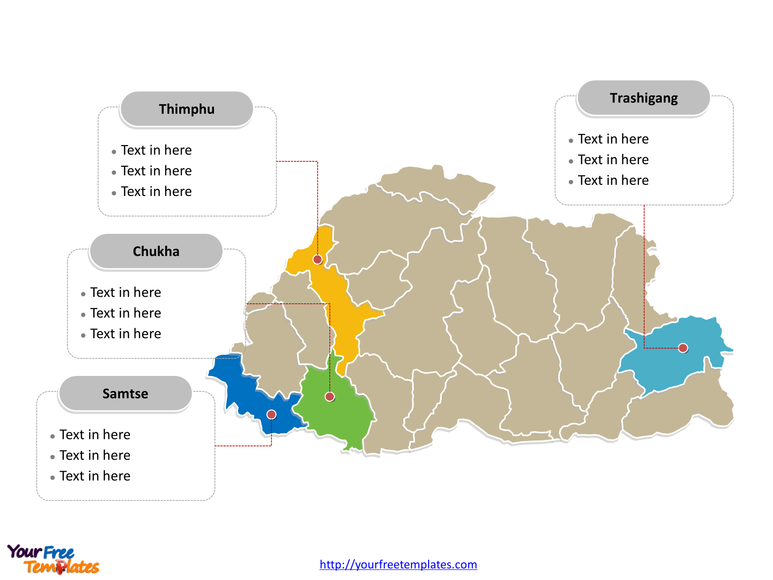 Bhutan Political map labeled with major districts