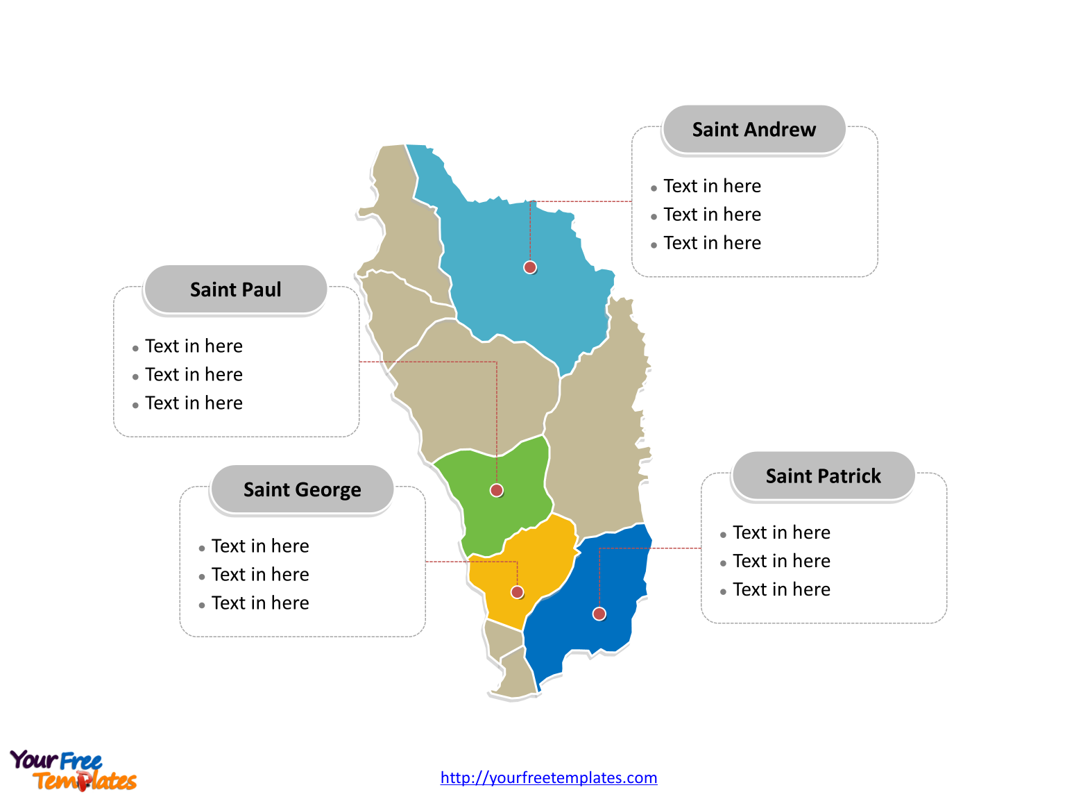 Free Dominica Editable Map Free PowerPoint Templates - Dominica political map