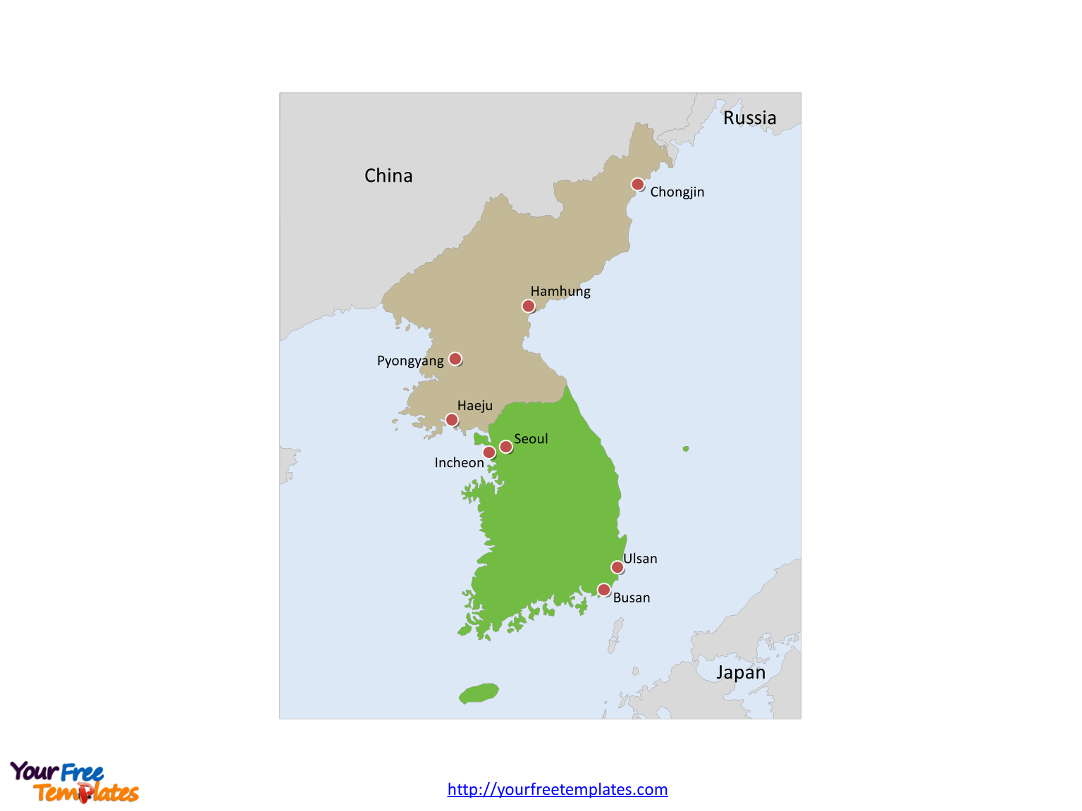 Framed Korea Peninsula Political map labeled with major cities and surrounding countries, China, Russia and Japan.