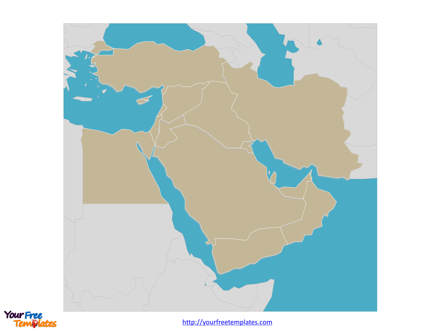 Blank Middle East map labeled with seas