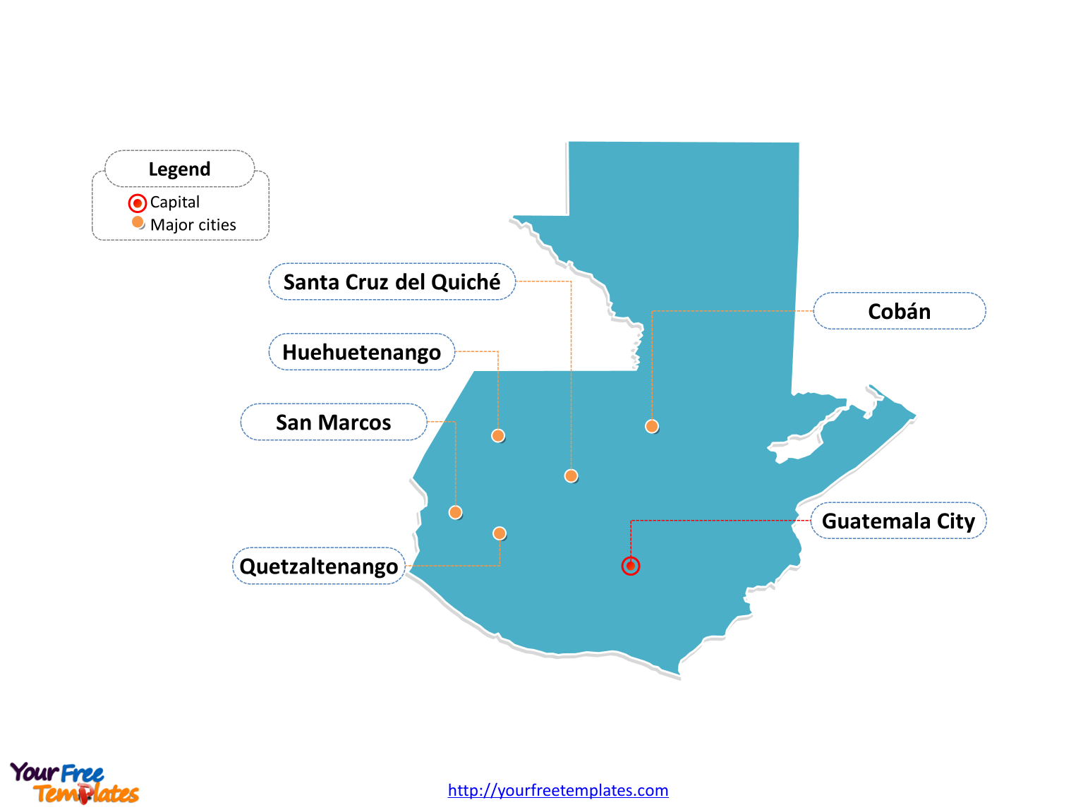 Free Guatemala Editable Map - Free PowerPoint Templates