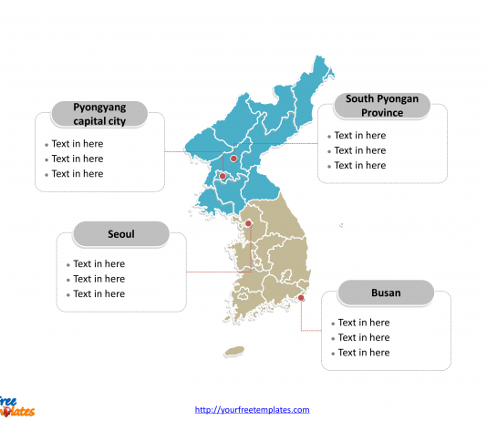 Korea Peninsula Political map labeled with major districts