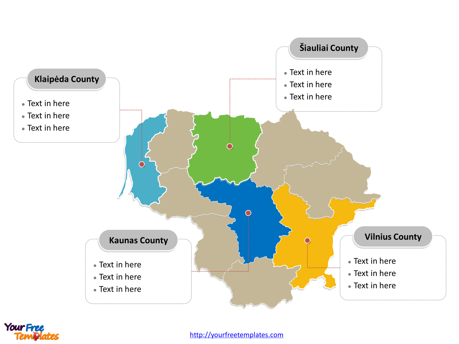 Free Lithuania Editable Map Free PowerPoint Templates